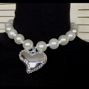 Jewelry - Heart Logo Adjustable length Pearls &Satin Ribbons